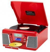 Steepletone Roxy 3 Red Retro CD/Turntable System