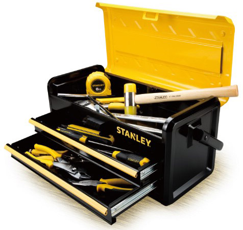 "Stanley 19"" 2-Drawer Metal Toolbox"