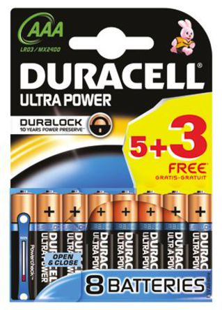 Duracell Ultra Power With Duralock, Pack of 5+3, Alkaline, 1.5 V, AAA