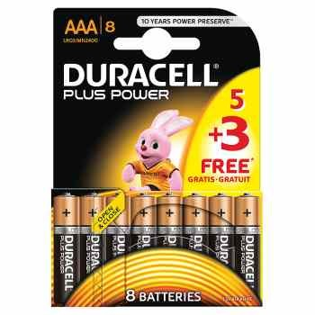 Duracell Plus Power with Duralock, Pack of 5+3, Alkaline, 1.5 V, AAA