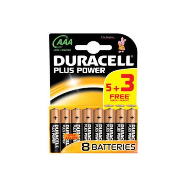 Duracell Plus Power with Duralock, 5+3 Pack, Alkaline, 1.5 V, AA