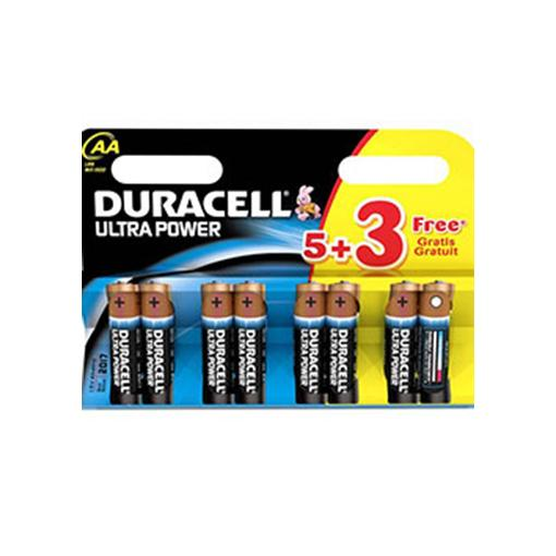 Duracell Ultra Power With Duralock, Pack of 5+3, Alkaline, 1.5 V, AA