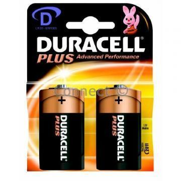 Duracell Plus Power with Duralock, Pack of 2, Alkaline, 1.5 V, D