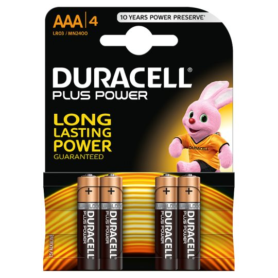 Duracell Plus Power with Duralock, Pack of 4, Alkaline, 1.5 V, AAA