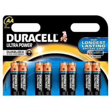Duracell Ultra Power With Duralock, Pack of 8, Alkaline, 1.5 V, AA