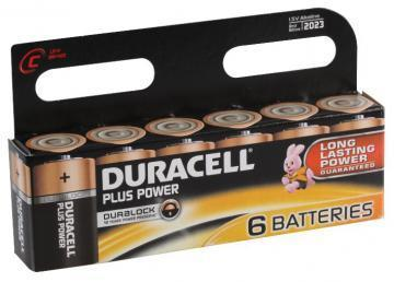Duracell Plus Power With Duralock, Pack of 6, Alkaline, 1.5 V, C