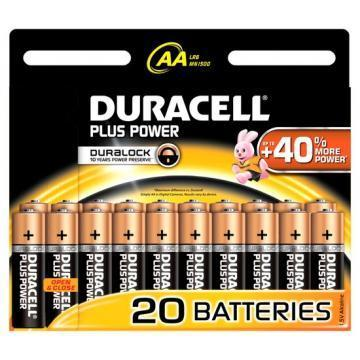 Duracell Plus Power with Duralock, Pack of 20, Alkaline, 1.5 V, AA