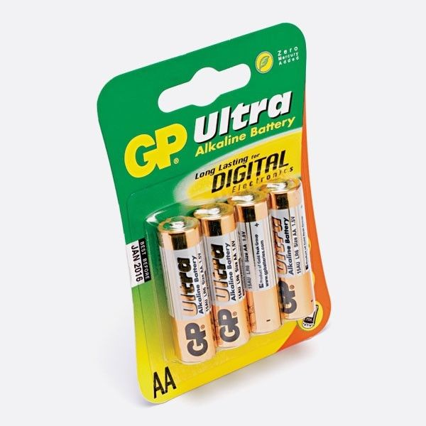 GP Ultra, Pack of 4, Alkaline, 2200 mAh, 1.5 V, AA Battery