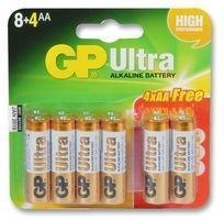 GP Ultra, Pack of 8+4, Alkaline, 1.5 V, AA Battery