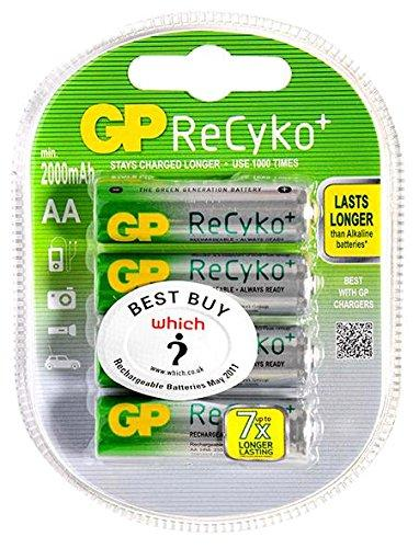 GP ReCyKo, Pack of 4, 2000 mAh, 1.2 V, AA Rechargeable Battery