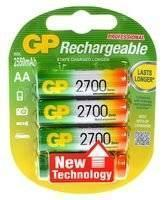 GP Professional, Pack of 4, 2550 mAh, 1.2 V, AA Rechargeable Battery
