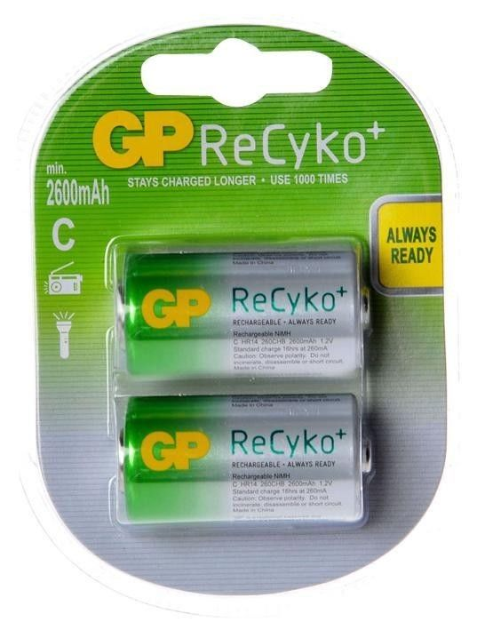 GP ReCyKo, Pack of 2, 2600 mAh, 1.2 V, C Rechargeable Battery