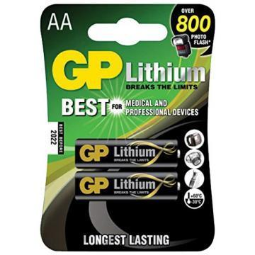 GP Lithium Iron Disulphide, 3100 mAh, 1.5 V, AA Batteries