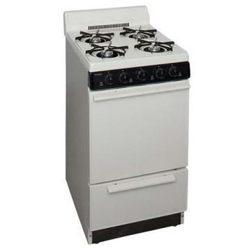 "Premier BAK100TP 20"" Cordless Steel Gas Range Bisque"