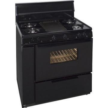 "Premier BLK5S9BP 36"" Cordless Steel Gas Range Black"