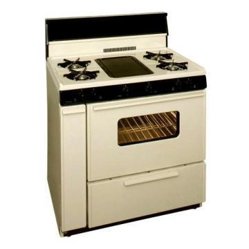 "Premier BLK5S9TP 36"" Cordless Steel Gas Range Bisque"