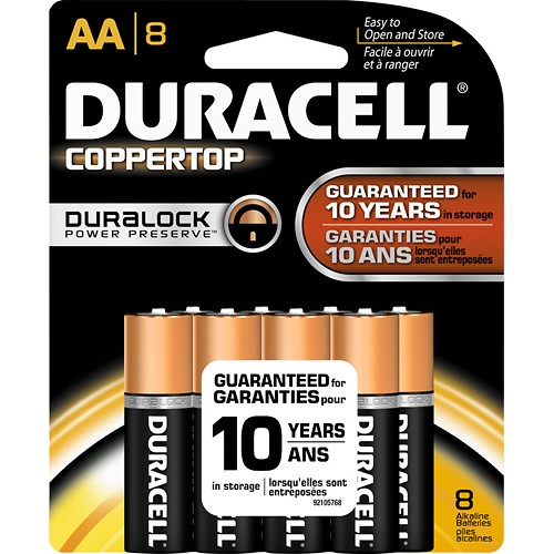 Duracell AA Coppertop Alkaline Battery 8pk