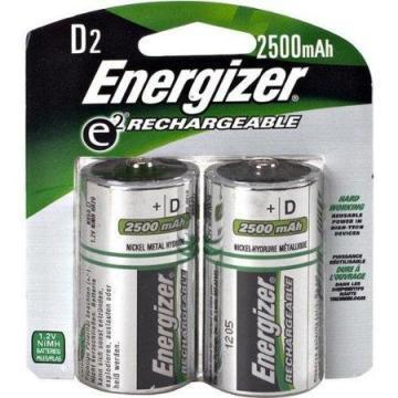 Energizer D Rechargeable NiMh Battery, Package of 2