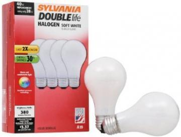 Sylvania Halogen A Bulb 28W A19 Soft White Pack of 48