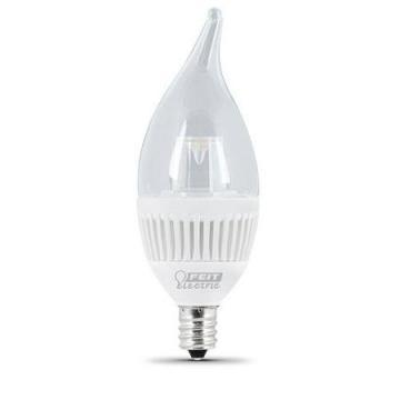 Feit LED Bulb 4.8W Dimmable Clear Flame, 3000K, Candelabra Base