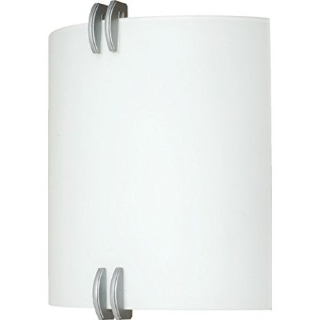 AFX Lighting 2-Light 26W Fluorescent Wall Sconce Brushed Nickel Opal Glass