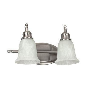 AFX Lighting 2-Light 26 Watt Vanity Satin Nickel Alabaster-Style Glass
