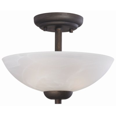 Thomas Lighting 2-Light Semi-Flush Ceiling Fixture Painted Bronze Etched Swirl G