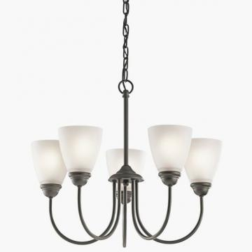 Thomas Lighting 5-Light Chandelier Painted Bronze Etched Swirl Glass
