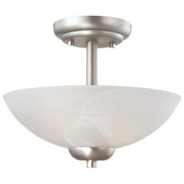 Thomas Lighting 2-Light Semi-Flush Ceiling Fixture Matte Nickel Etched Swirl Gla