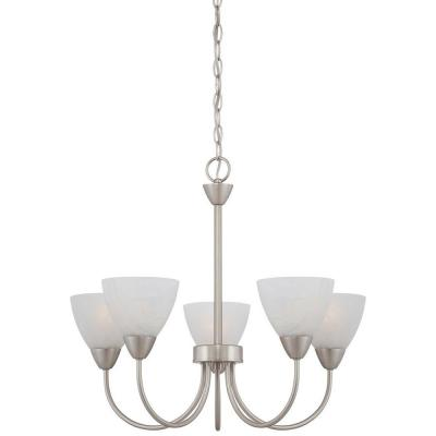 Thomas Lighting 5-Light Chandelier Brushed Nickel Etched Swirl Glass