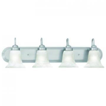 Thomas Lighting 4-Light, Brushed Nickel, Alabaster-Swirl Glass Vanity Fixture