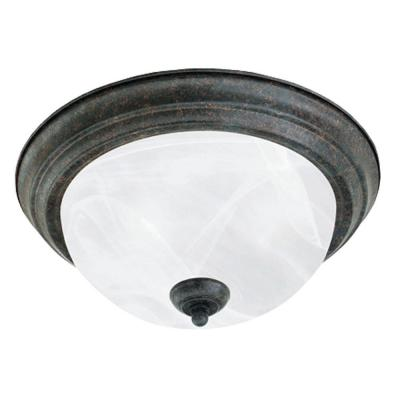 Thomas Lighting 2-Light Ceiling Fixture Sable Bronze Etched Alabaster Glass