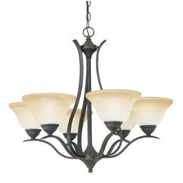 Thomas Lighting 6-Light Chandelier Sable Bronze Alabaster-Swirl Glass