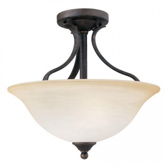 Thomas Lighting 2-Light Semi-Flush Ceiling Fixture Sable Bronze Alabaster-Swirl