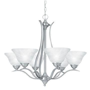 Thomas Lighting 6-Light Chandelier Brushed Nickel Alabaster-Swirl Glass