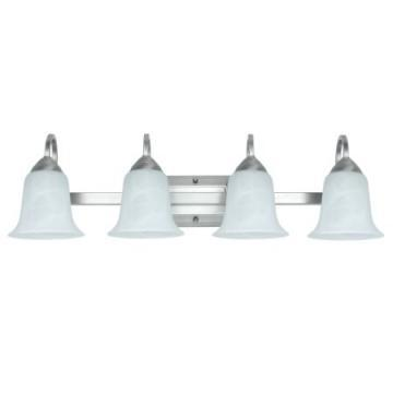 Feit LED 4-Light Vanity Fixture, Brushed Nickel, Alabaster Style Glass, 34 Watt