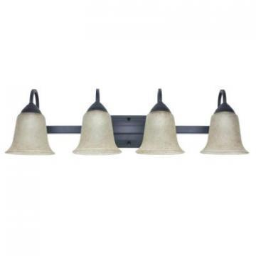 Feit LED 4-Light Vanity Fixture, Bronze, Tea Stained Glass, 34 Watt