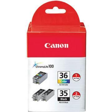 Canon PGI-35 Black and CLI-36 Color Ink Cartridges 3-Pack