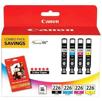 Canon PGI-225BK Black and CLI-226 Color Inks 4-Pack