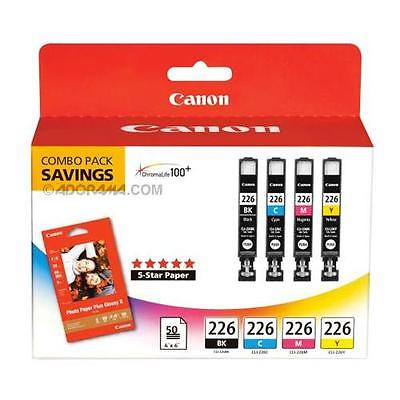 Canon CLI-226 B/C/M/Y Color Ink Cartridges and Photo Paper