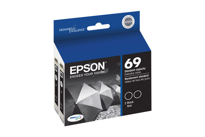 Epson 69 Black Ink Cartridges, 2 Pack