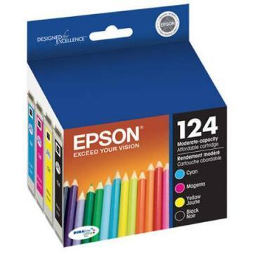 Epson 124 Black and Color C/M/Y Ink Cartridges 4-Pack