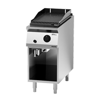 Giga EM Line 9 EM92GLG Gas lava rock charbroiler on open cabinet