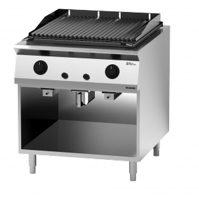 Giga EM Line 9 EM94GLG Gas lava rock charbroiler on open cabinet
