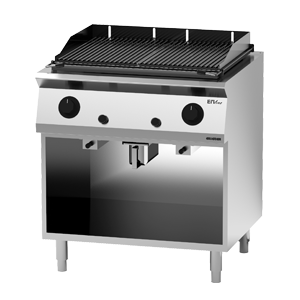 Giga EM Line 7 EM74GLG Gas lava rock charbroiler on open cabinet