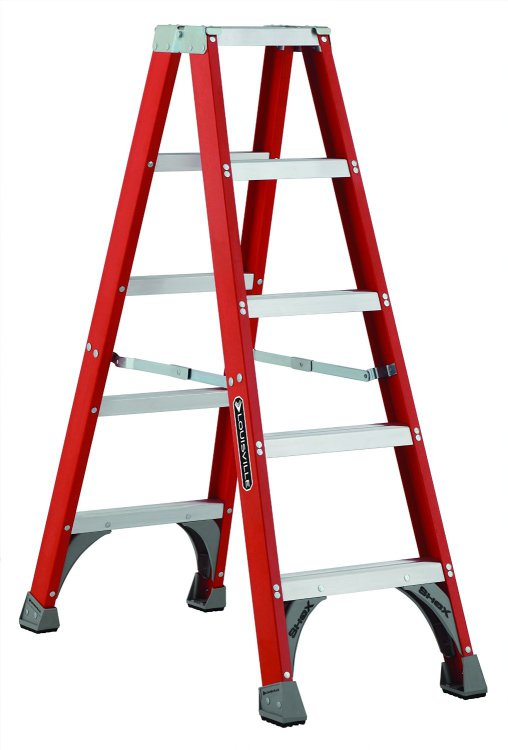 Louisville Type IA 5 ft Fiberglass Twin Front Step Ladder