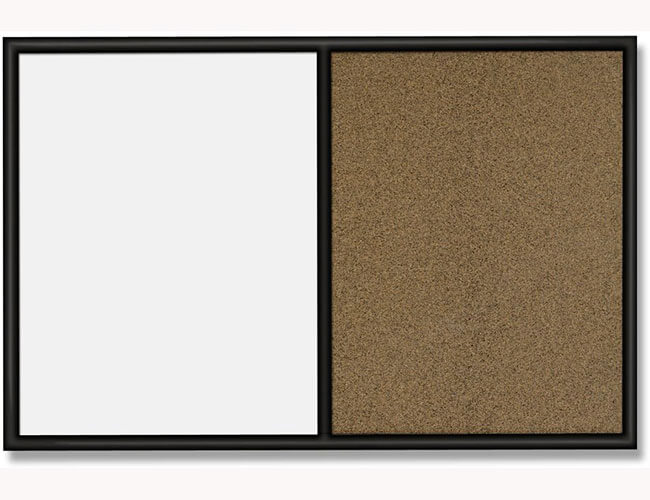 Quartet tandard Combo Whiteboard/Bulletin Board, Black Frame & Colored Cork