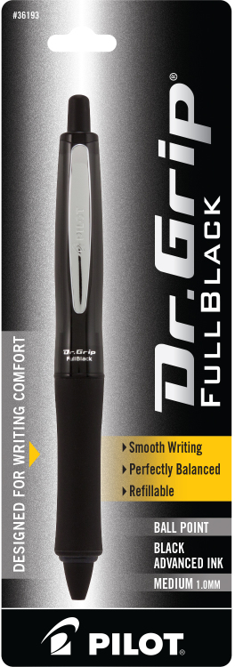 Pilot Dr. Grip FULL BLACK Retractable Ball Point Pen