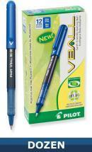 Pilot Vball Recycled Rolling Ball Stick pen, Liquid Blue Ink, Dozen Box