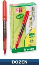 Pilot Vball Recycled Rolling Ball Stick pen, Liquid Red Ink, Dozen Box